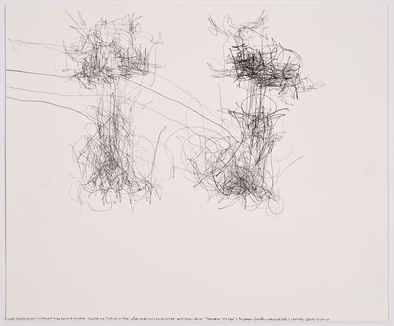 "生命移轉:舞者宮城由美子、照屋加奈子演出沖繩舞蹈「二才舞」時的手部動作/日本協會/美國紐約/2004.10  LIVE TRANSMISSION: movement of the hands of KANAKO TERUYA and YUMIKO MIYAGI while performing the Okinawa Kumiodori dance ""Takadera-Mauzai"" / The Japan Society / New York City, 2004.10    35.7 x 43cm / 14 x 17 inches  鉛筆與紙/graphite on paper"