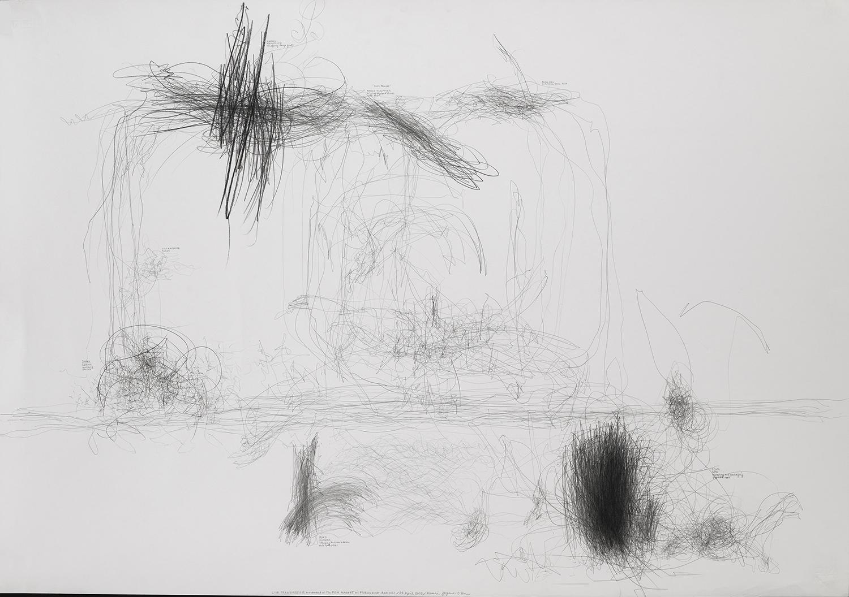 生命移轉:魚市場中的動作/古川/日本青森/2003.04.25  LIVE TRANSMISSION: movement in the FISH MARKET in FURUKAWA, AOMORI, JAPAN, 2003.04.25    70.2 x 99.5cm / 27.5 x 39.25 inches  鉛筆與紙/graphite on paper