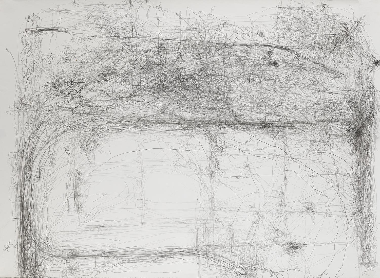 生命移轉:日本國際行為藝術節時,藝術家、技術人員和志工於「Kid Ailack Art Hall」藝廊裡排練時的運動/日本國際行為藝術節,2001.03.05  LIVE TRANSMISSION: movement of artists and technicians and volunteers during NIPAF 01 rehearsal in KID AILACK HALL, Tokyo, Japan / Nippon International Performance Art Festival, 2001.03.05    78.8x107.7cm / 31 x 42.5inches  87.5x116.5cm / 34.1x 45.9inches(含框)  鉛筆與紙/graphite on paper