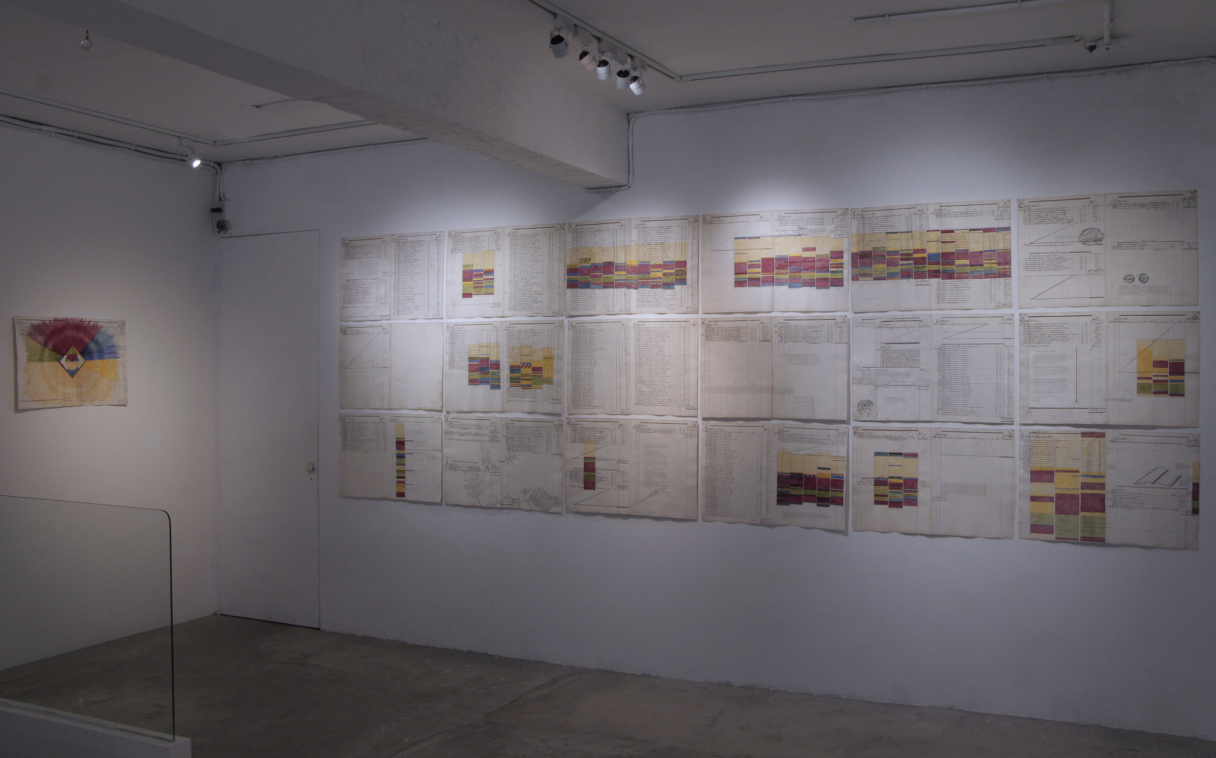 時間研究:二零零八*共19張  Time Study : 2008 *The work is a set of 19 pages. The pictures are a presentation of the work shown at Nunu Fine Art, Taipei, 2017.    49 x 73cm / 19.3 x 28.8inches(單張大小/each)  水彩、水粉、18世紀的墨水與17世紀的紙張/Gouache, watercolor, ink written on in 1792 and paper made in 17 century