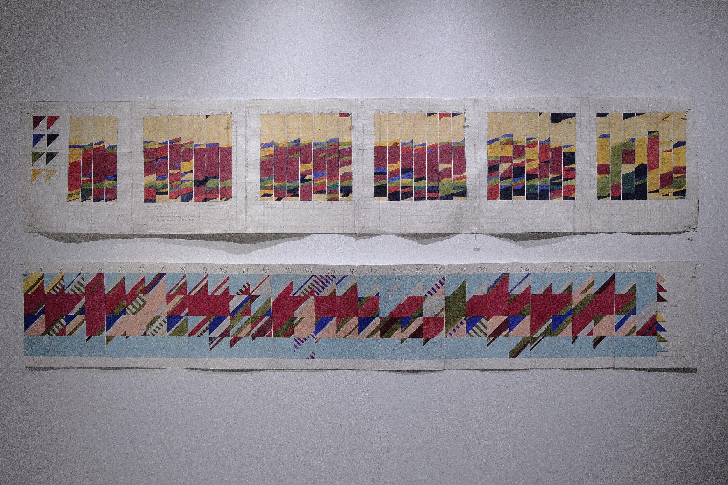 | 上 Top |  時間研究:二零一二年七月到八月  Time Study: July to August, 2012  32 x 161.5cm / 12.6 x 63.6inches  水粉、鉛筆與紙張/Gouache and graphite on paper    | 下Bottom |  時間研究:一九九二年六月,舊金山  Time Study:June, 1992, San Francisco  25.5 x 159cm / 10 x 62.6inches  水粉、鉛筆與紙張/Gouacheand graphite on paper