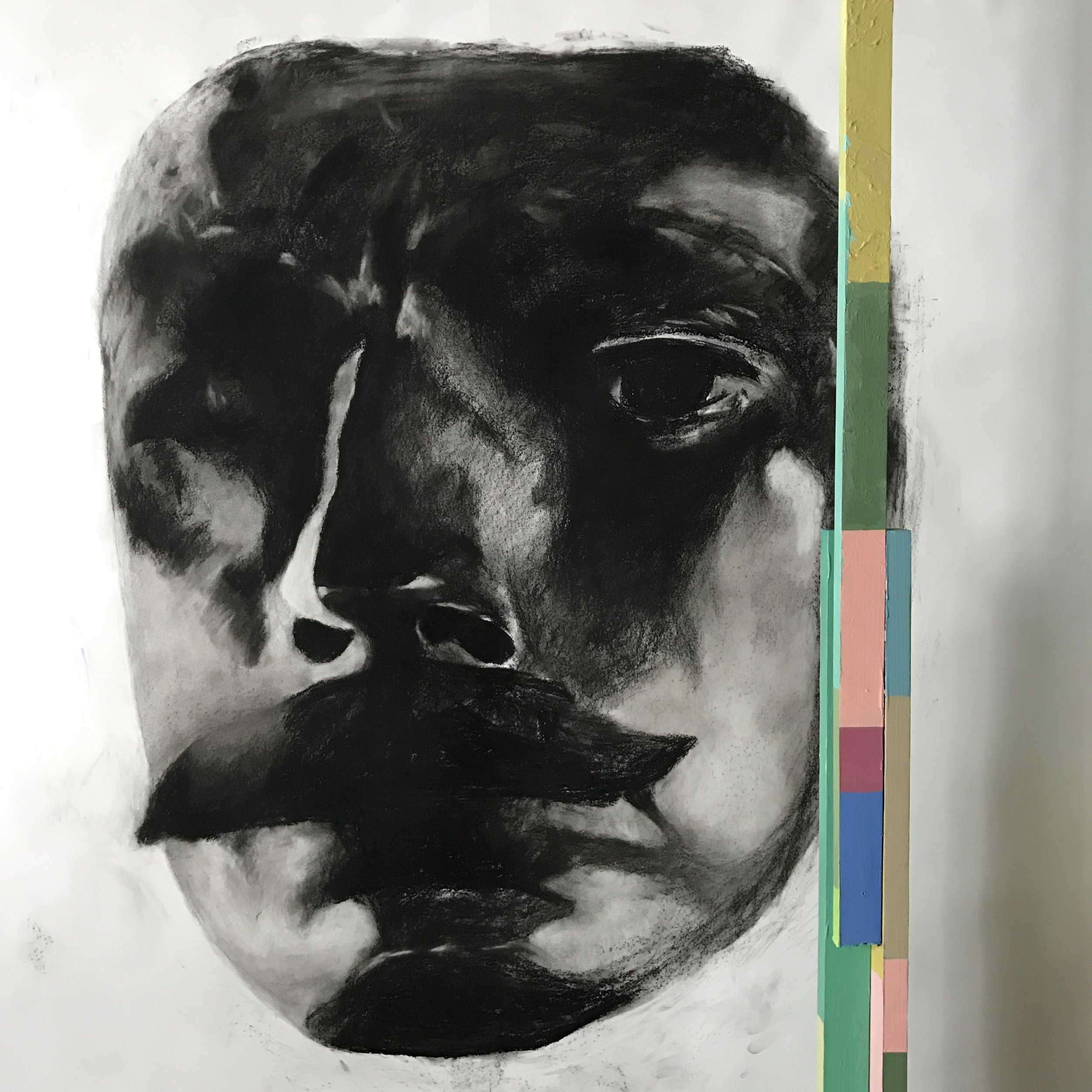 〈臉|The Face〉,炭筆於紙|Charcoal on paper,130 x 150 cm|51 x 59 inches,2018