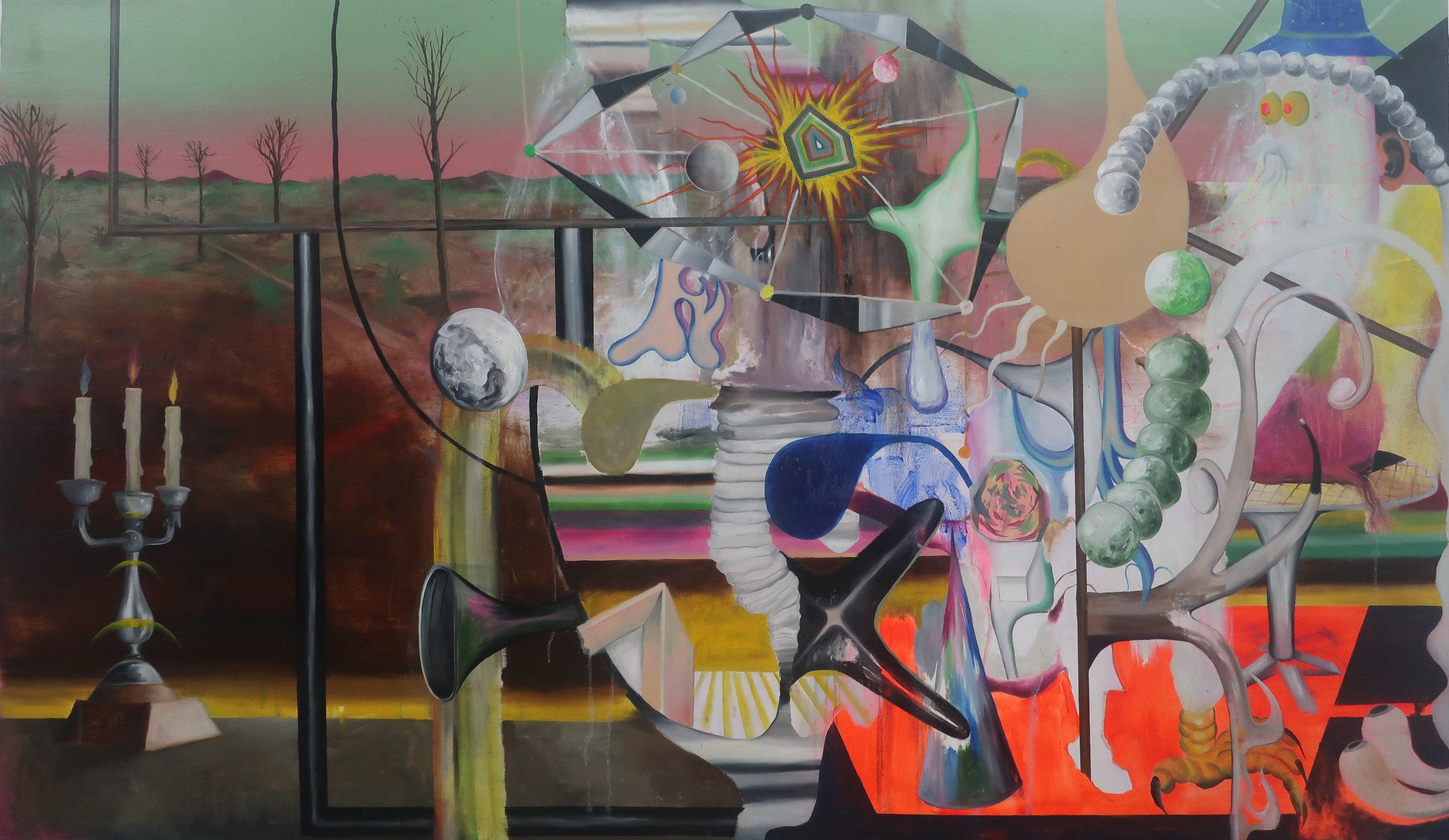 Mystic Data Bender _ 神秘資料狂歡,2019,油料於畫布 _ Oil on canvas 122.5 x 207.7 cm _ 48 x 84 inches.jpg