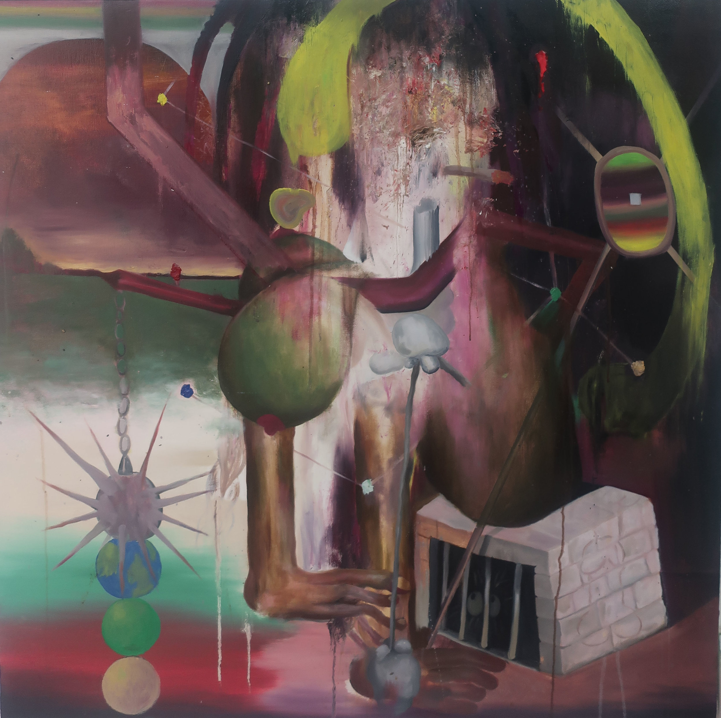 Brown Man Magic _ 棕人魔法,2019,油料於畫布 _ Oil on canvas 91.5 x 91.5 cm _ 36 x 36 inches.jpg