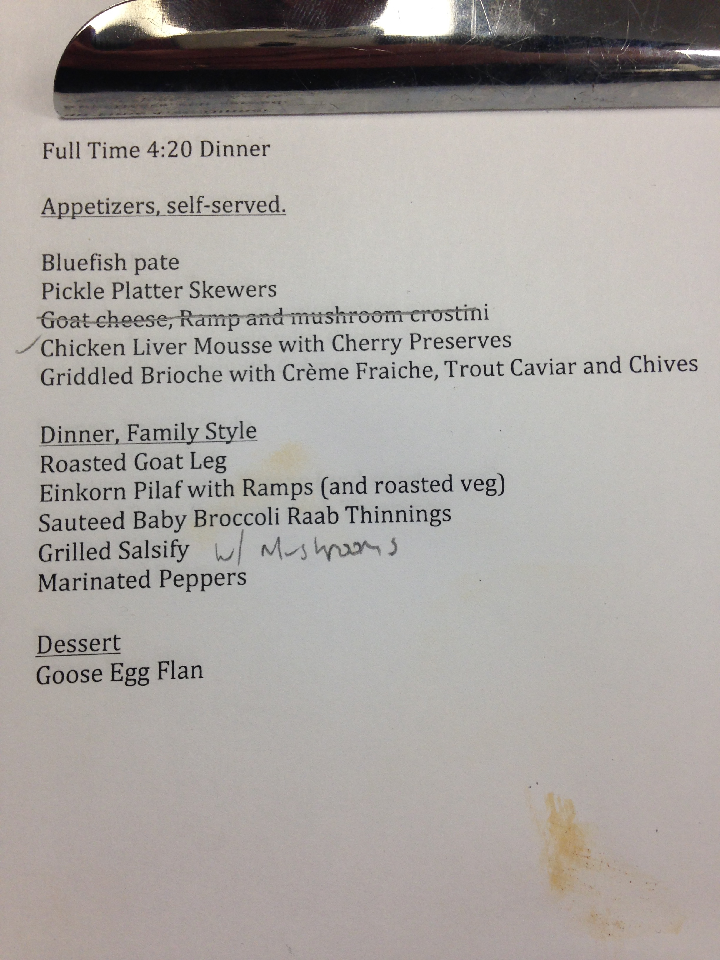 Trevett's menu. I had no idea I love einkorn so much.