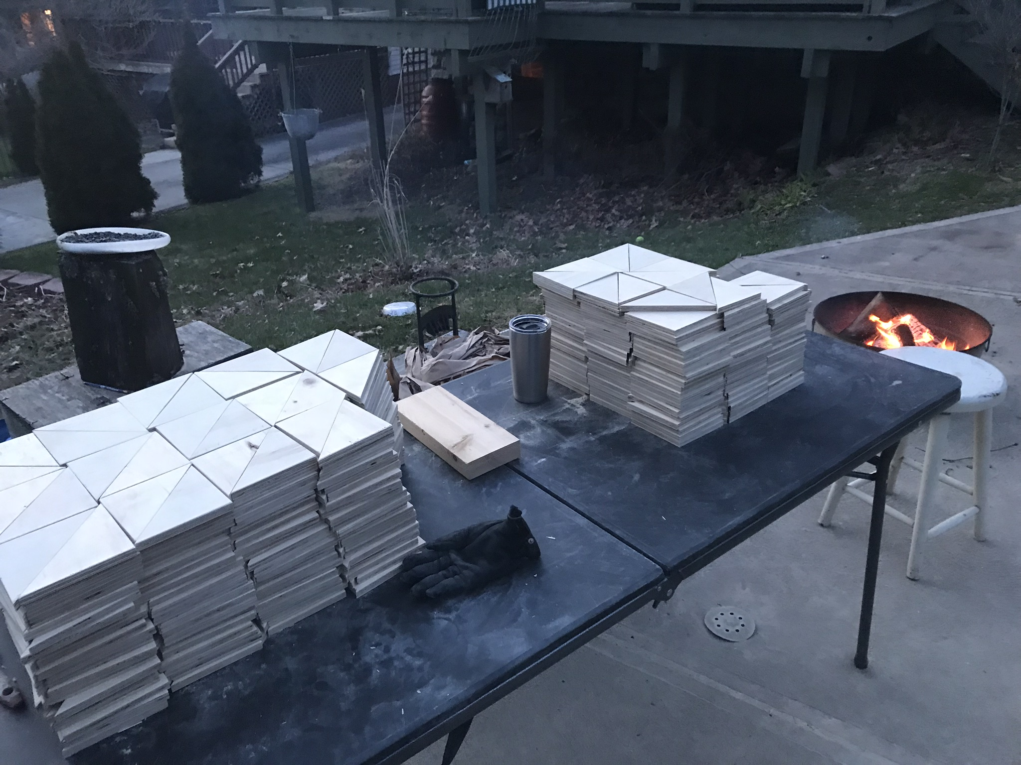 My wood shop is in the garage but expands into the driveway when it's fire-building weather.