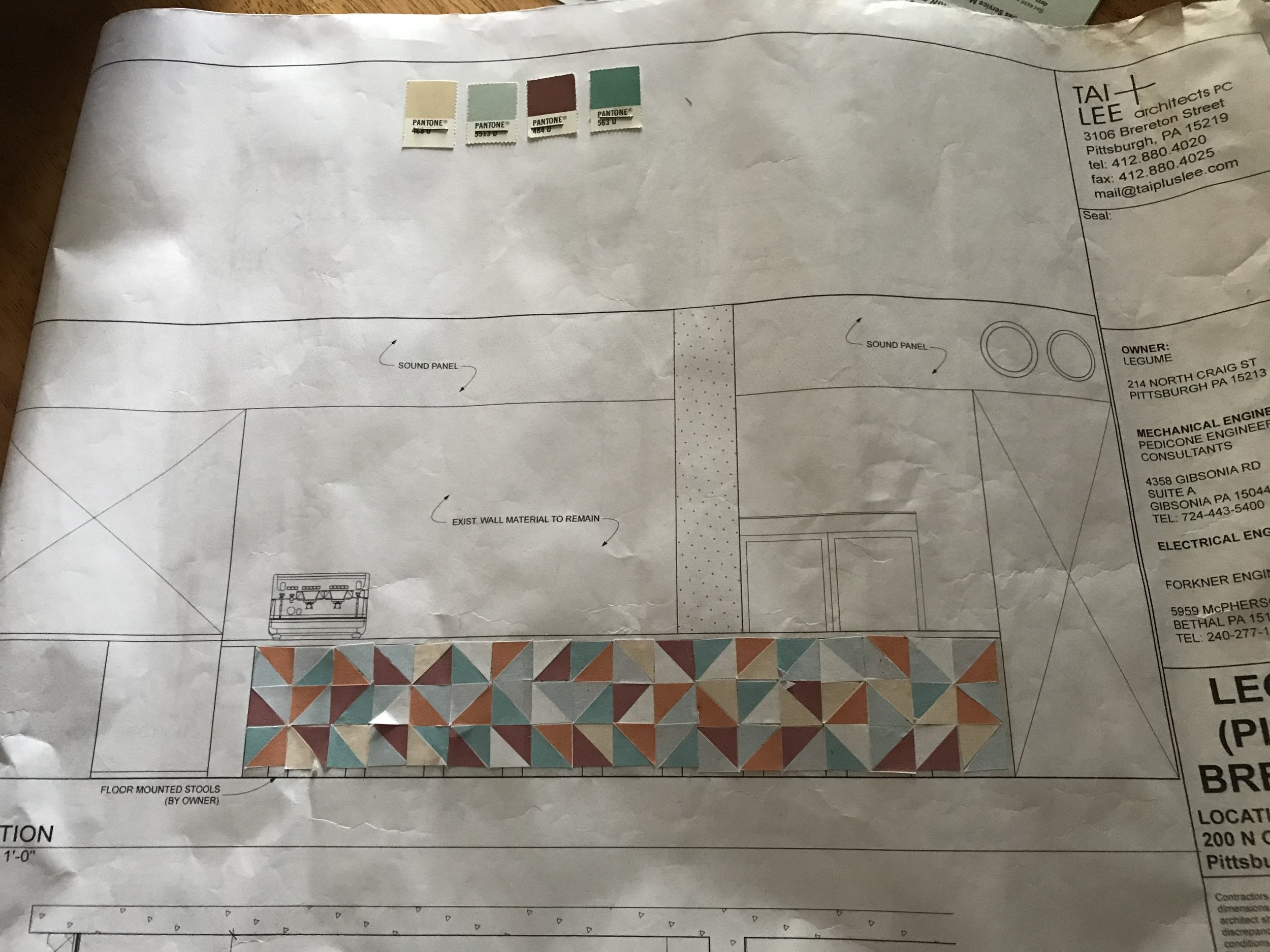 """At this point it was time for me to begin actually building the bar front """"quilt."""""""
