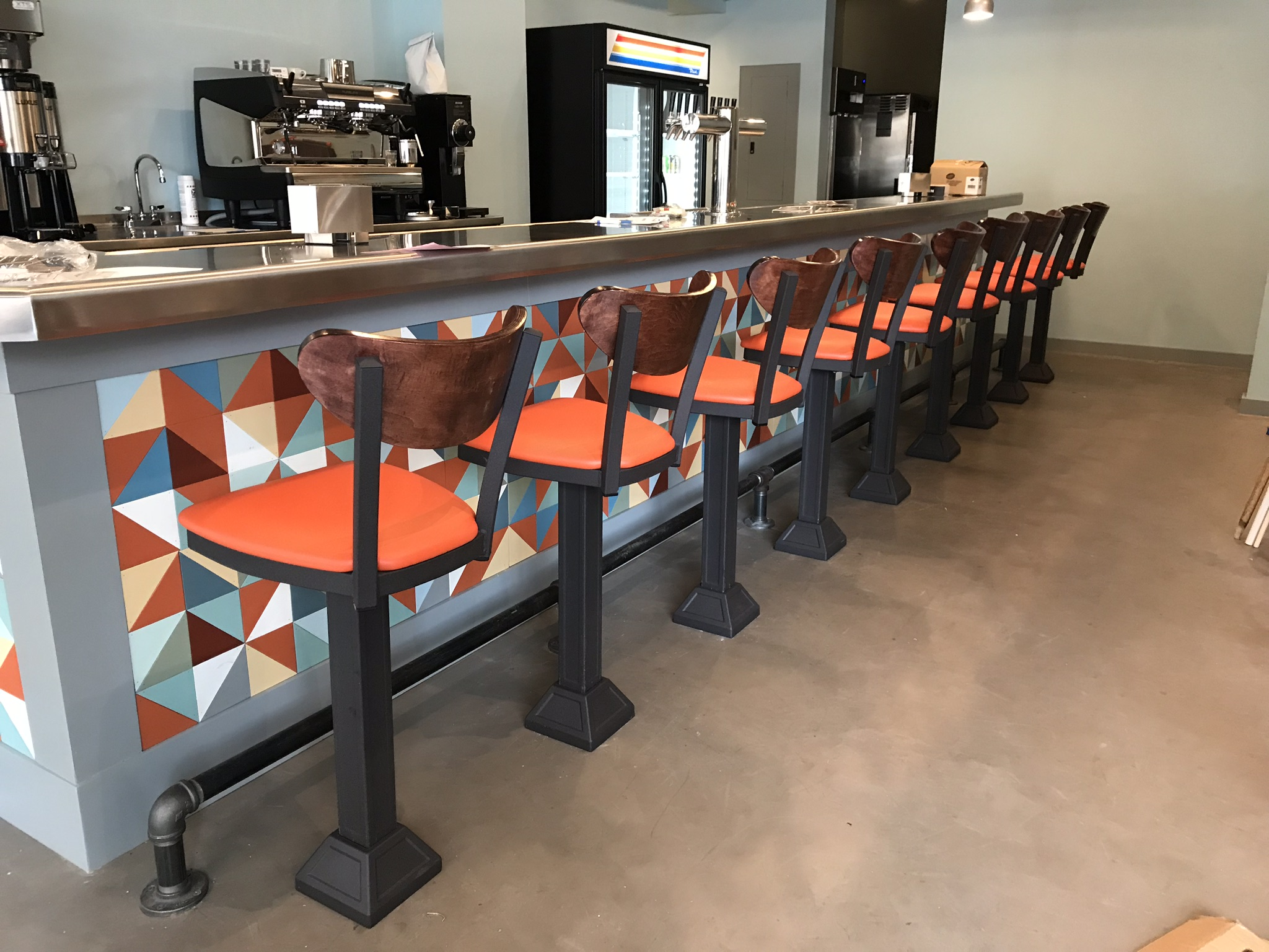 Trevett was so glad when the FUN colors started appearing. And I loved seeing the barstools installed.