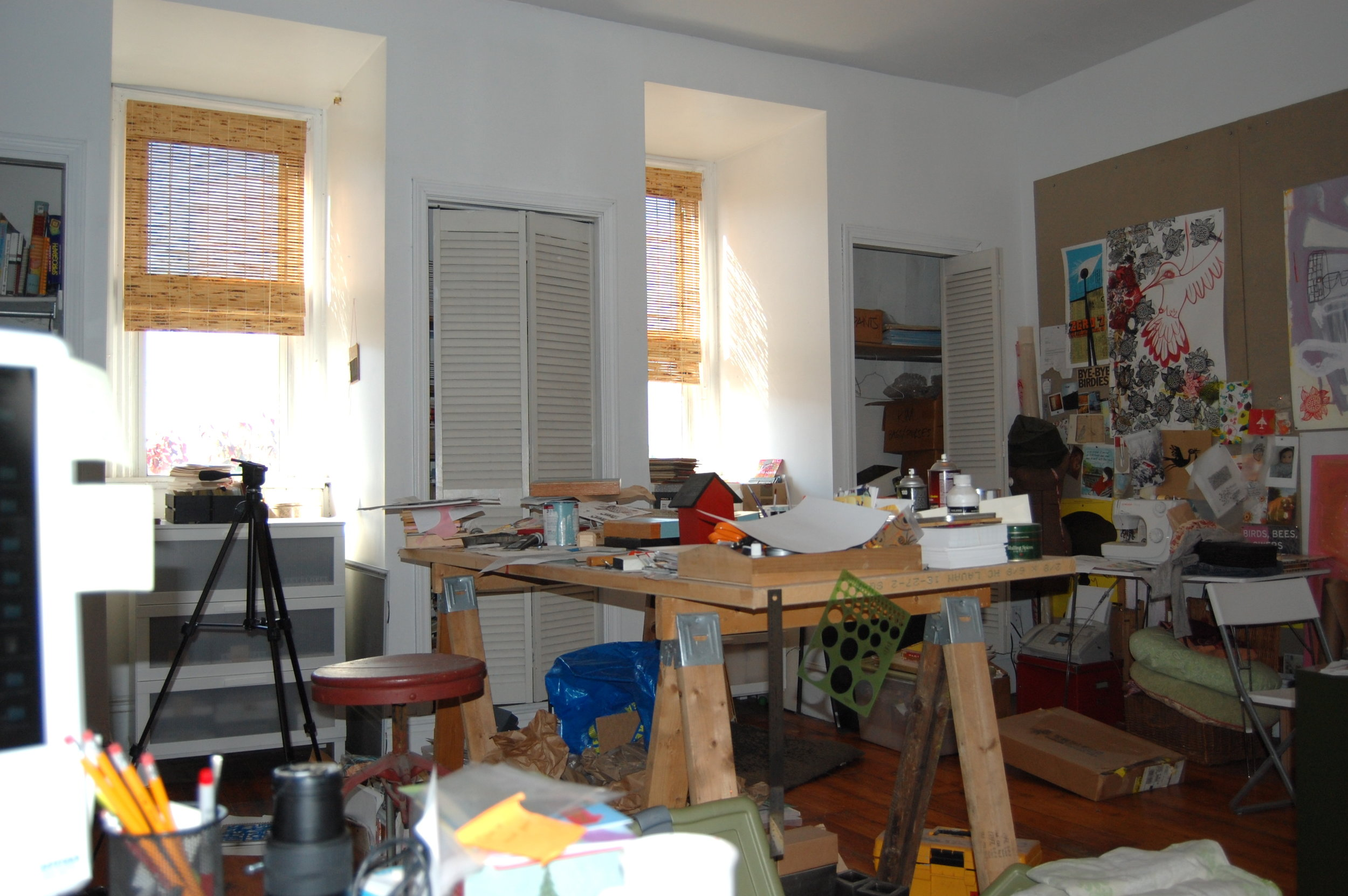 I love my studio but it's a mess. Here's the chaos: The wee one is awake so I'm out.