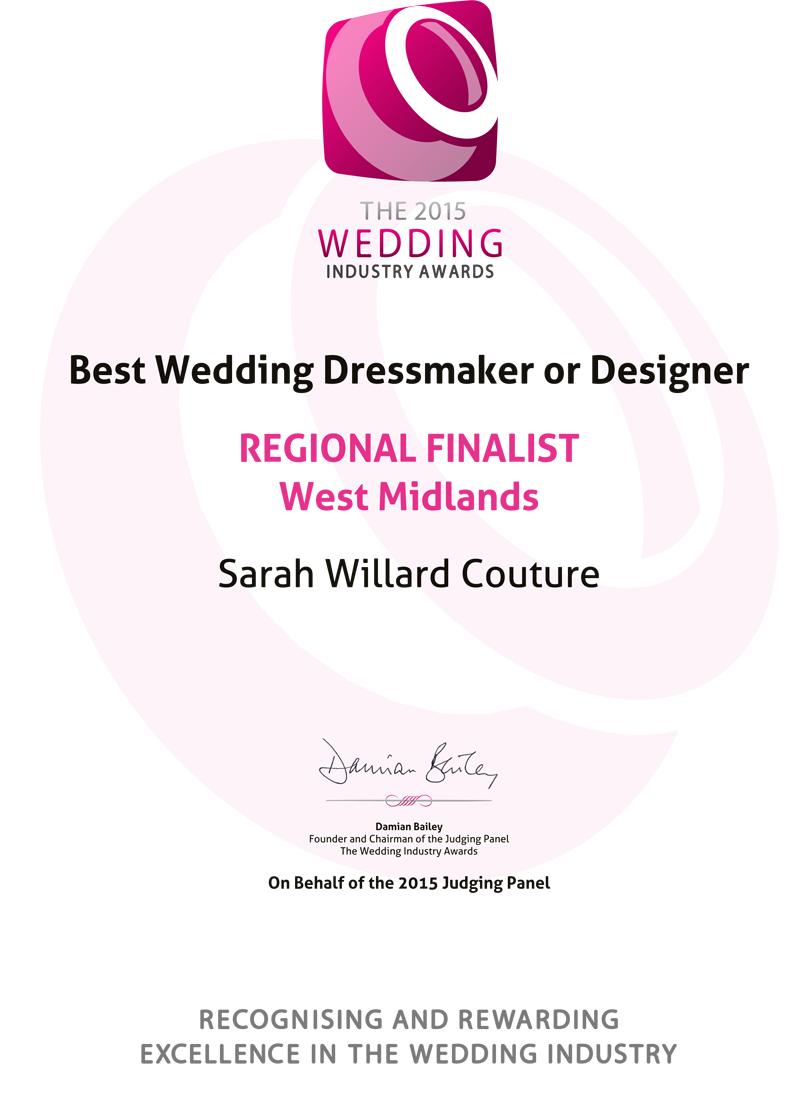 Best Wedding Dressmaker Regional Finalist