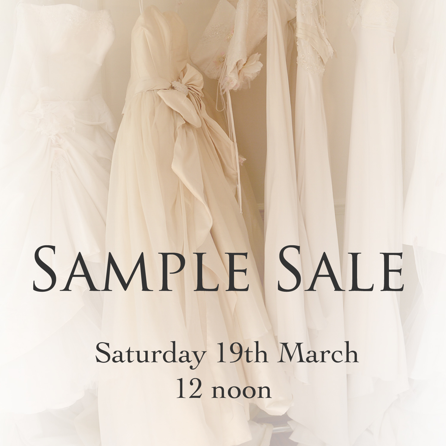 Picture of sample sale rail and link to Facebook sample sale page