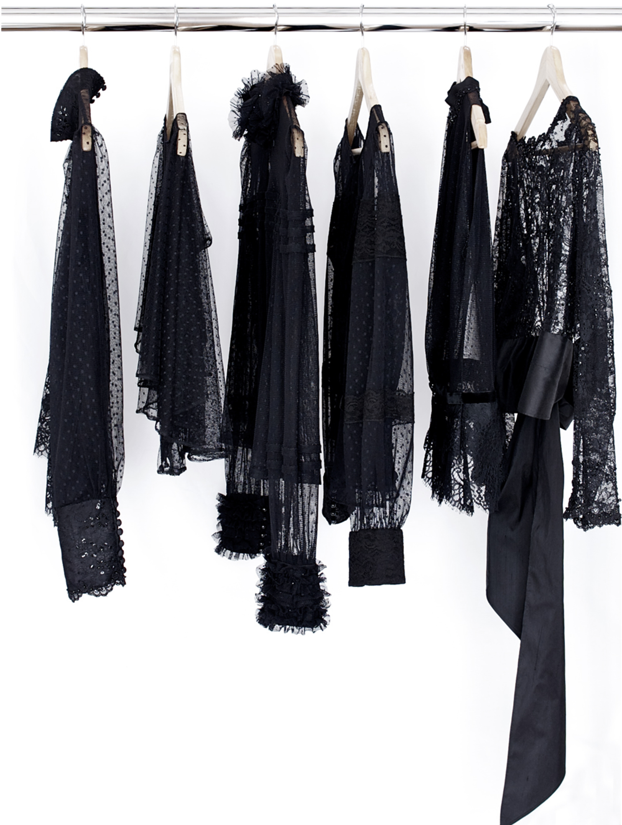 The collection of black lace evening wear tops
