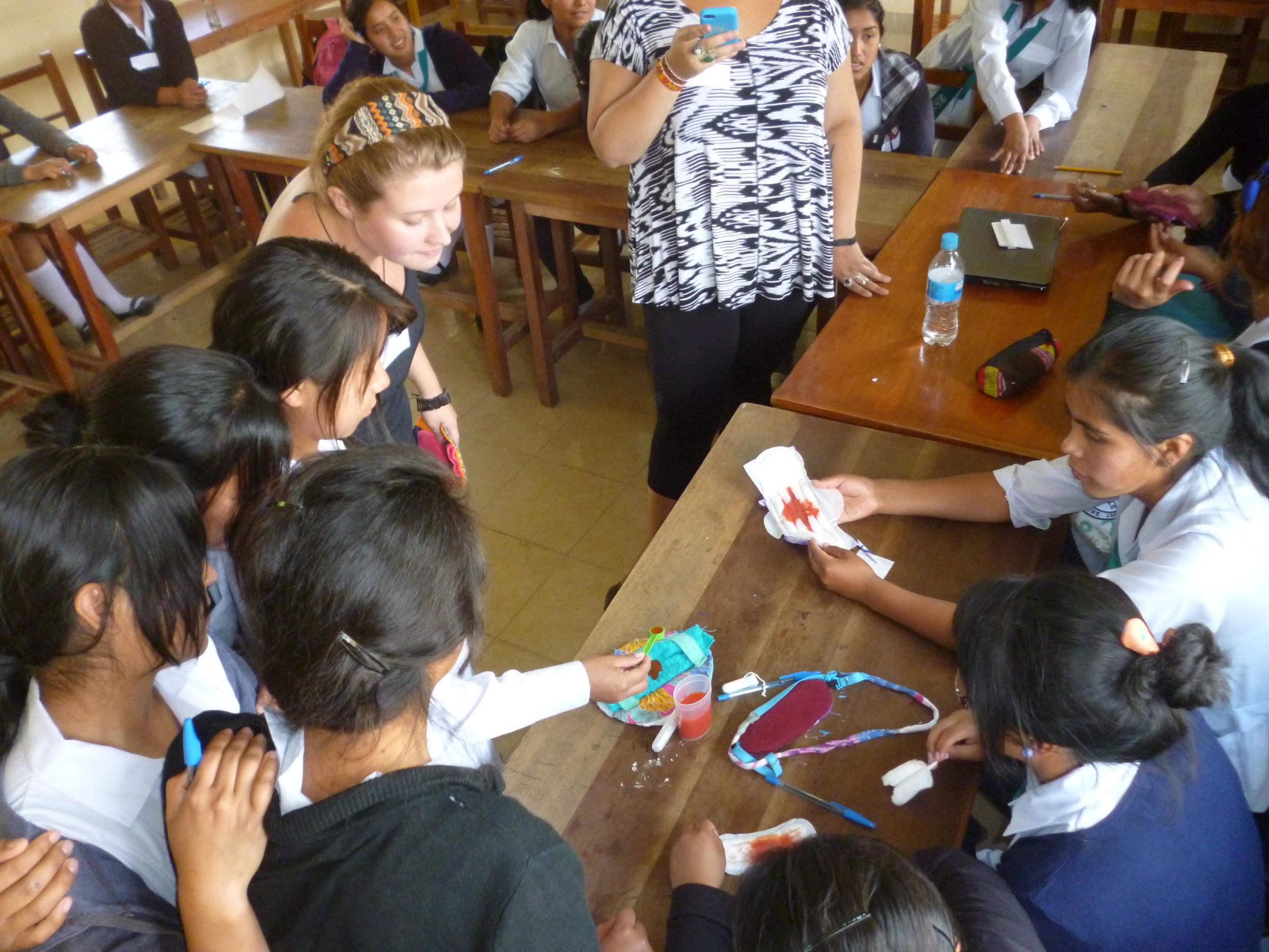 ex-FRANK Water Intern, Chloe runs a menstrual hygiene workshop in Bolivia
