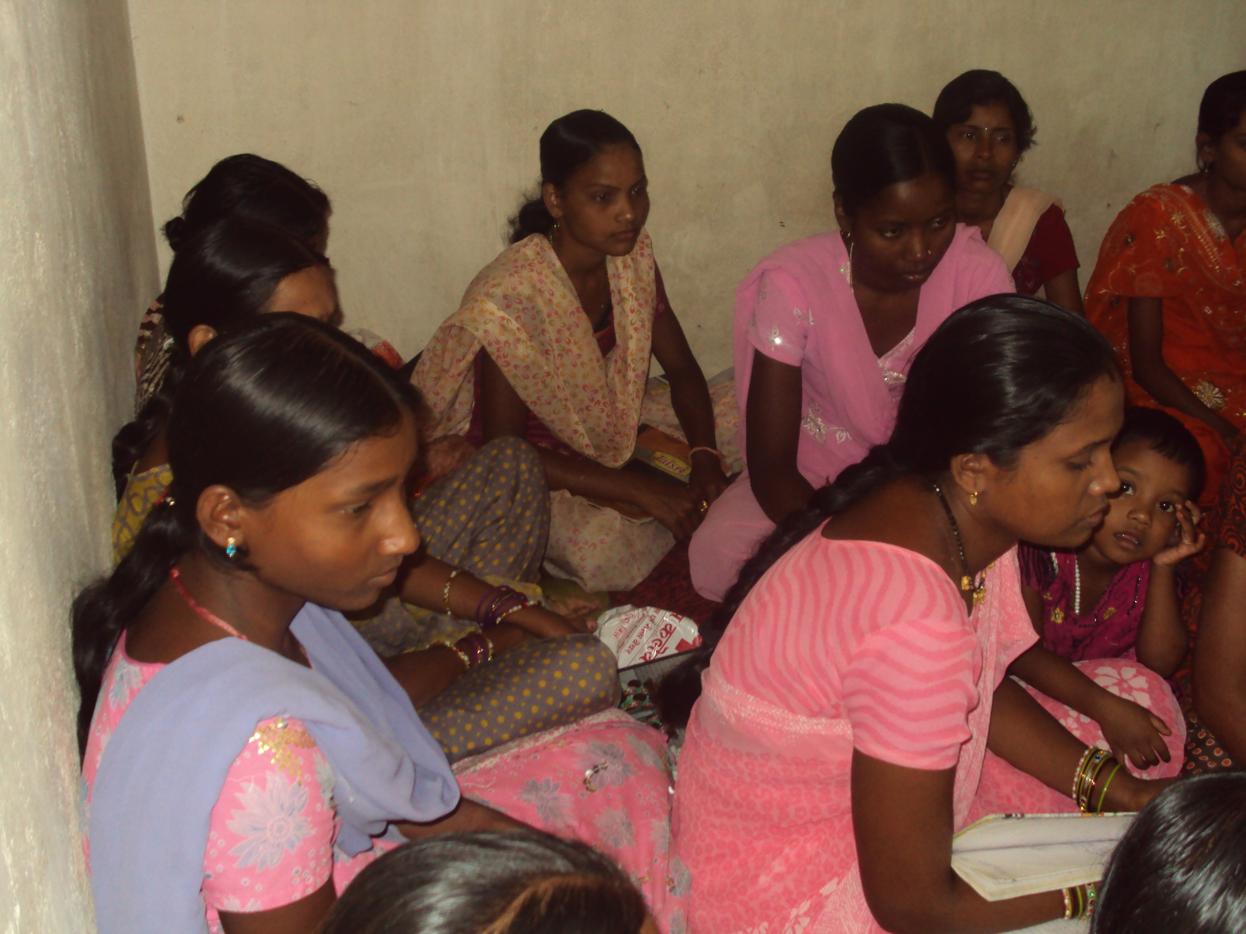 Women from community participating in MHM training at Nava Tola