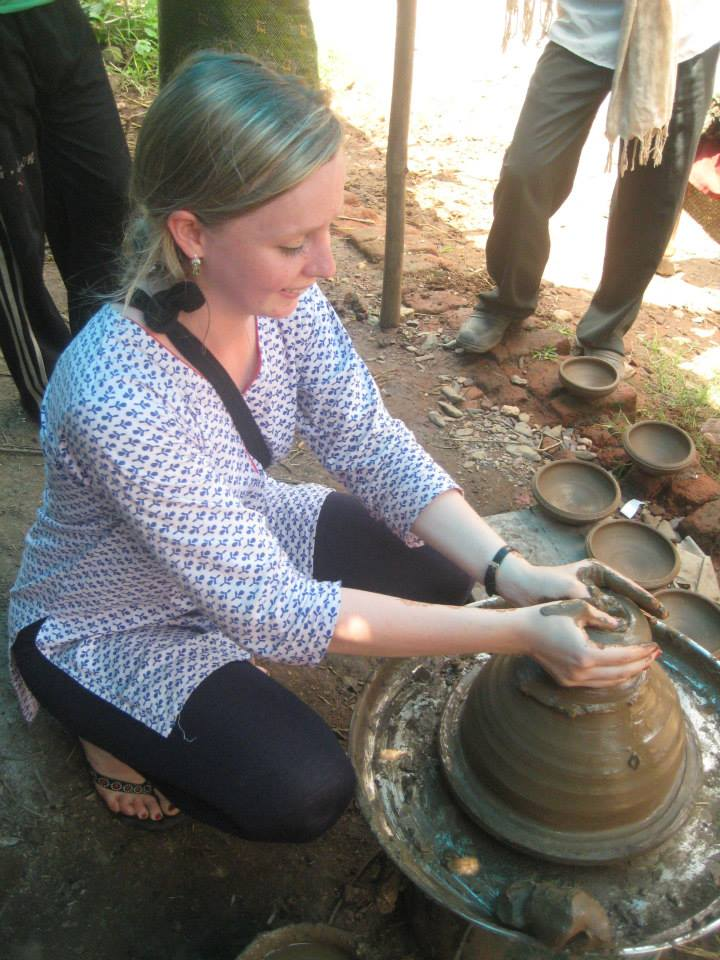 taking a pottery lesson in one of the local villages