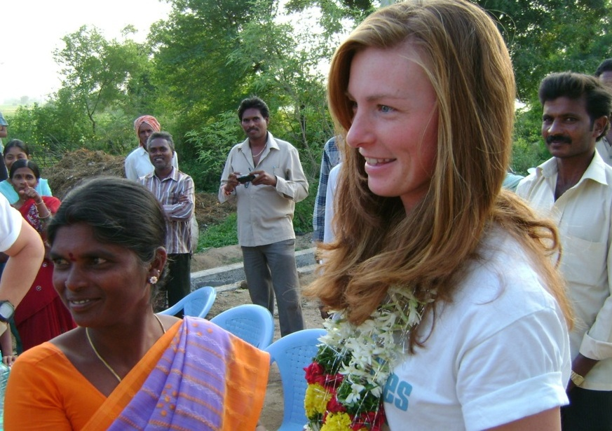 Katie Alcott in India, visiting one of the communities that FRANK Water works with