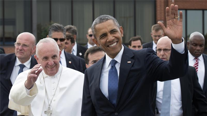 """Pope Francis, as the fourth Pontiff to visit the U.S., urged Americans  to build a """"truly tolerant and inclusive"""" society that rejects discrimination and said that climate change is an issue """"which can no longer be left to a future generation""""."""