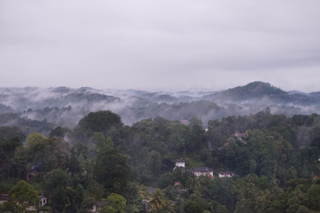 Morning fog over Kandy.