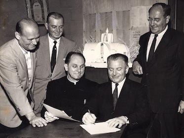 Signing of HTOC construction contract, 1950. Walter Gorelchenko, AJ Martini, Fr. Eugene Survillo, Dmitry Bogach, Constantine Pertzoff.