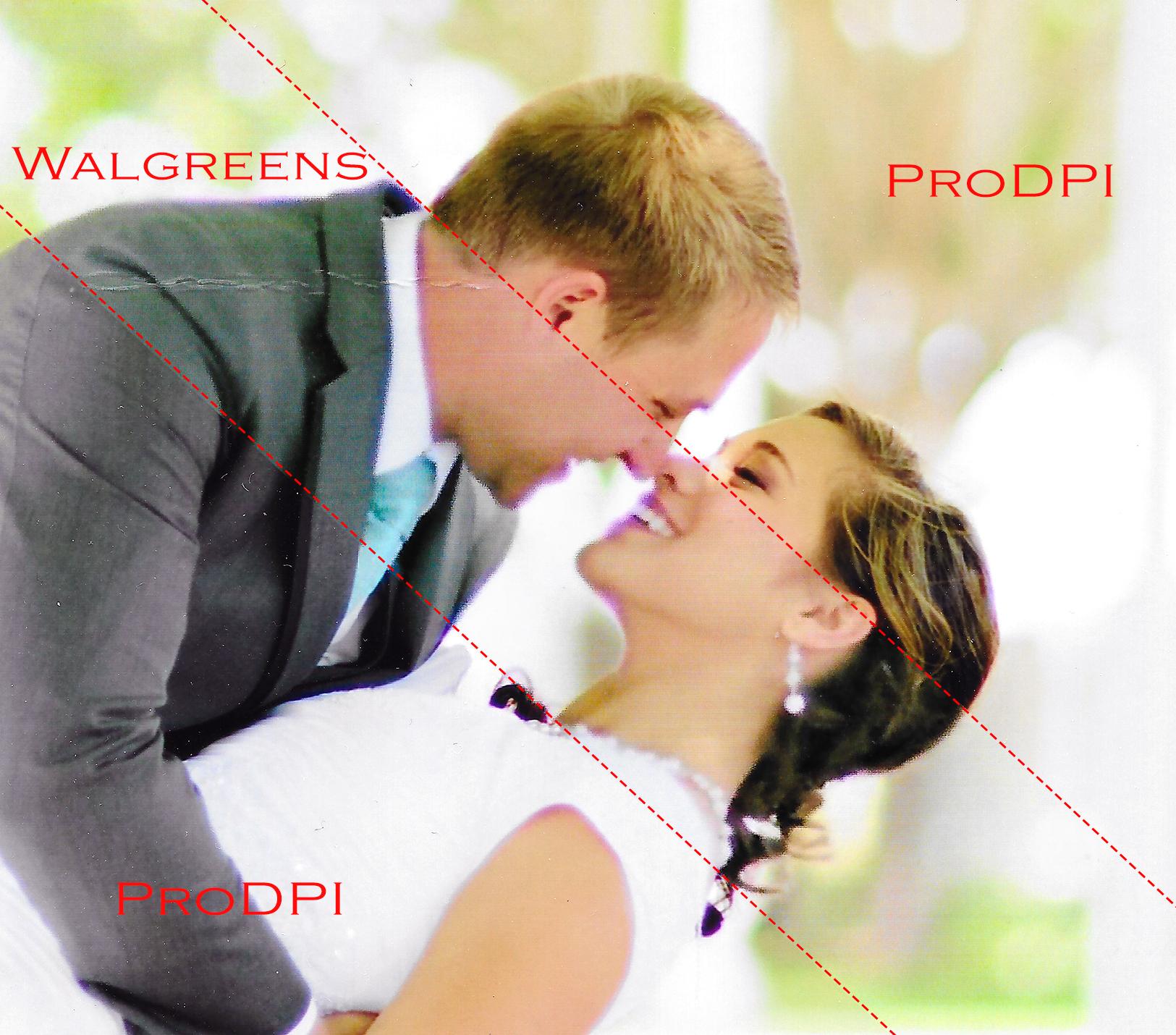 Comparison of same photo printed through Walgreens and ProDPI