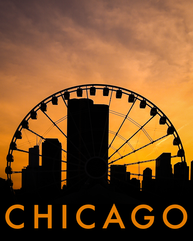 Sunset at Navy Pier with Centennial Wheel, May 2016. Copyright: Shanna Lockwood