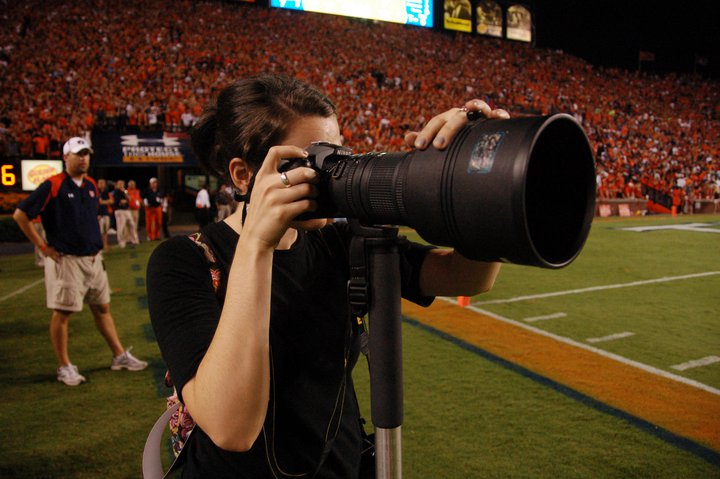 Young Shanna attempts sports photography at Jordan-Hare Stadium on September 26, 2010. Photo: Phil Smith