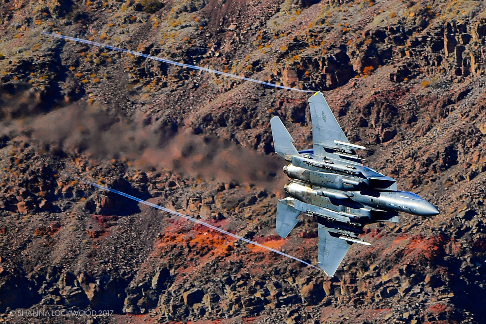 Nov 9, 2017; Death Valley, CA, USA; An Air Force F-15 flies through the Jedi Transition in Death Valley. Copyright: Shanna Lockwood