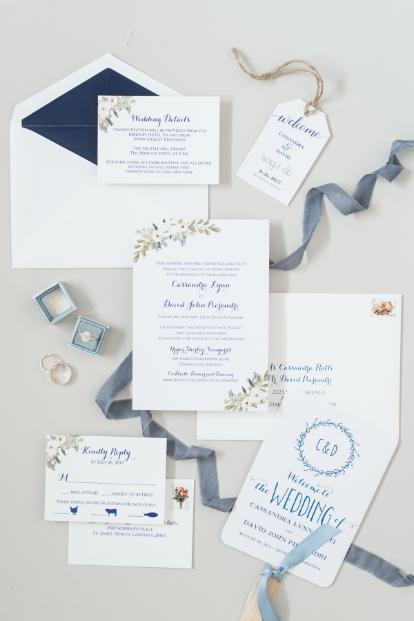 Blue and White Floral Wedding Invitations