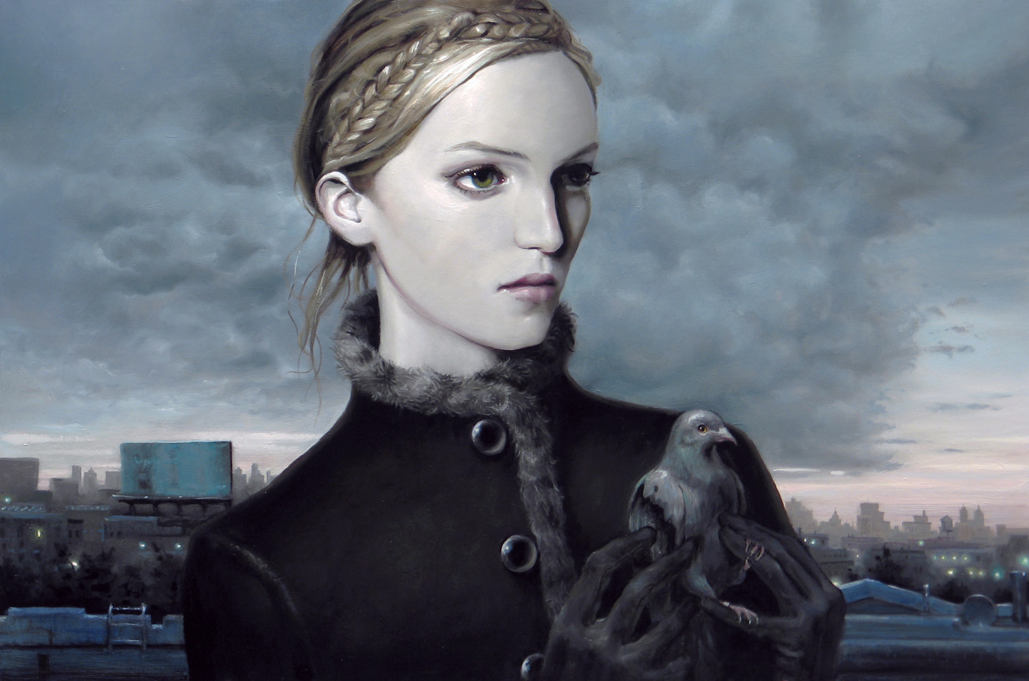 """Theme For a Pigeon"" - oil on panel - 24"" x 36"" - 2012"