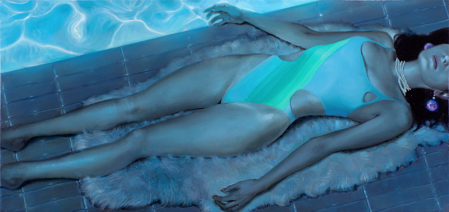 Midnight Swim | oil on linen | 24x50 in | 2014