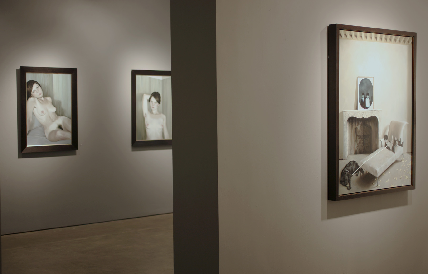 Installation shot of the Target Practice solo exhibition (2007).  Left to right: Look Away II, Look Away I, and The Twin's Knot.