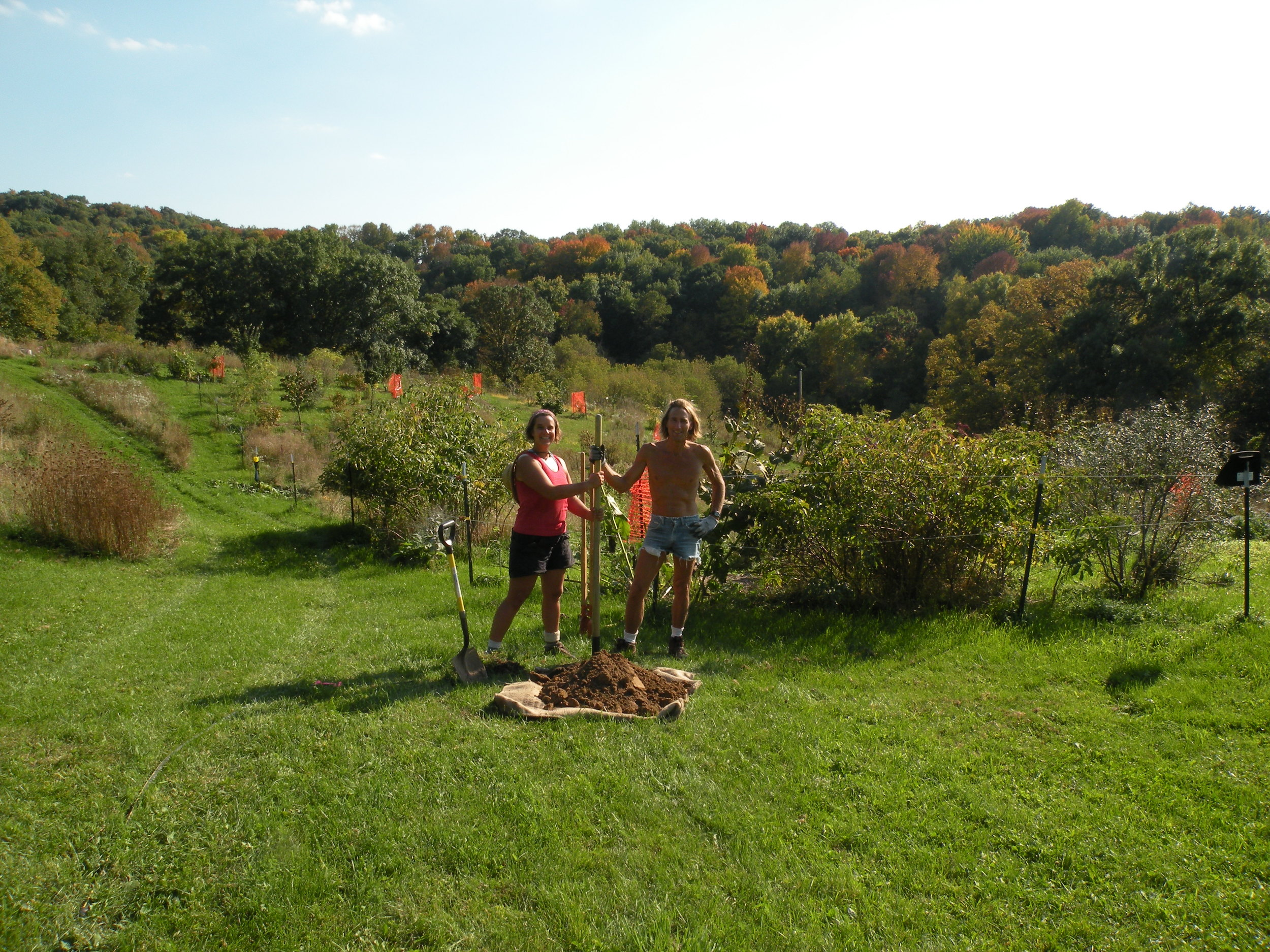 Farmers Erin and Rob digging the inaugural orchard fence hole. Photo by Victoria Vasys