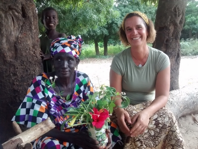 Pausing for a break during interview with Fatou Dianka, Jubo Grower Association, Batamar Senegal. Photo by Yaguemar Diop     Link to more Photo Highlights from experiences working with the Farmer to Farmer Program in Senegal this past November 2014