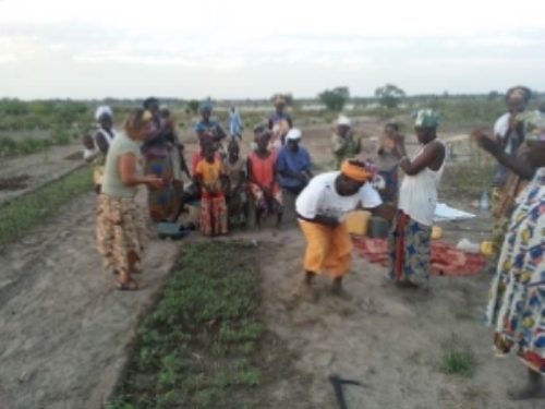 Taking the time to celebrate after a farmer to farmer training installing a mixed seed bed of insectory plants at Pakala Samthie. Photo by Yaguemar Diop