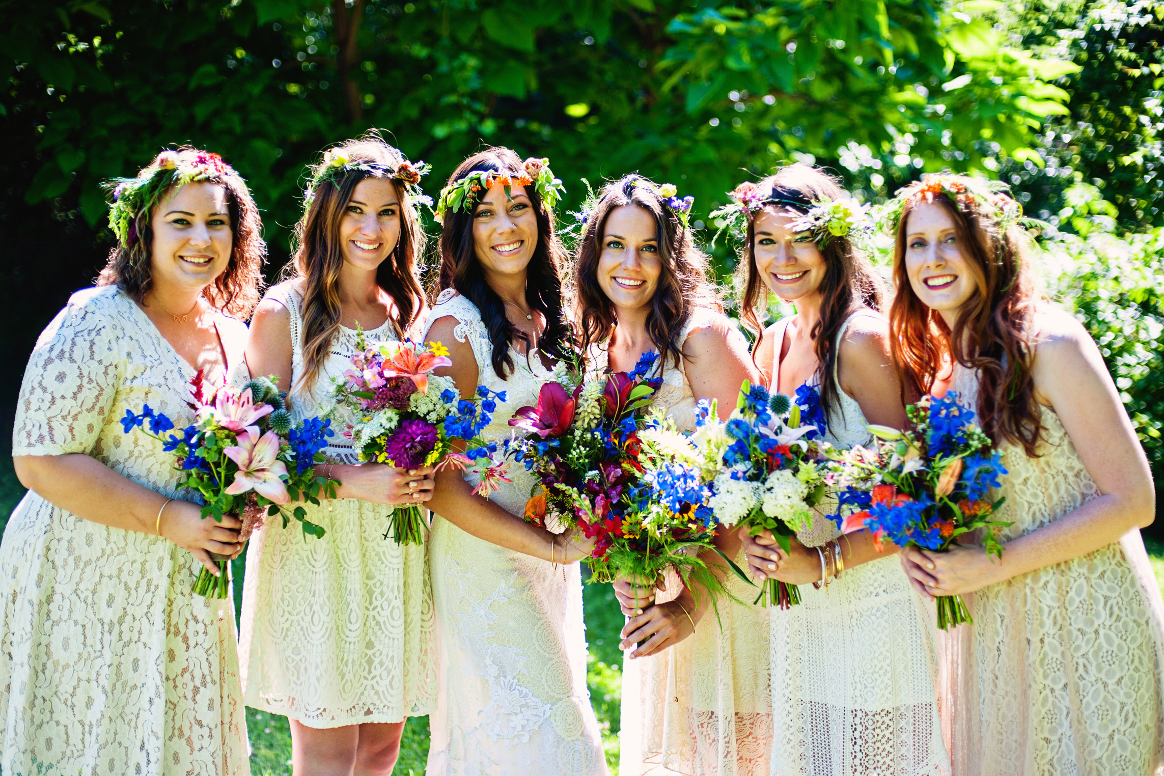 Bridal Party Bouquets for July wedding. We may not be able to promise exact flowers because of seasonality, but what we promise is a truly unique, handcrafted and locally sourced design that will be a feast for your senses. Photo provided by Allison Guerra