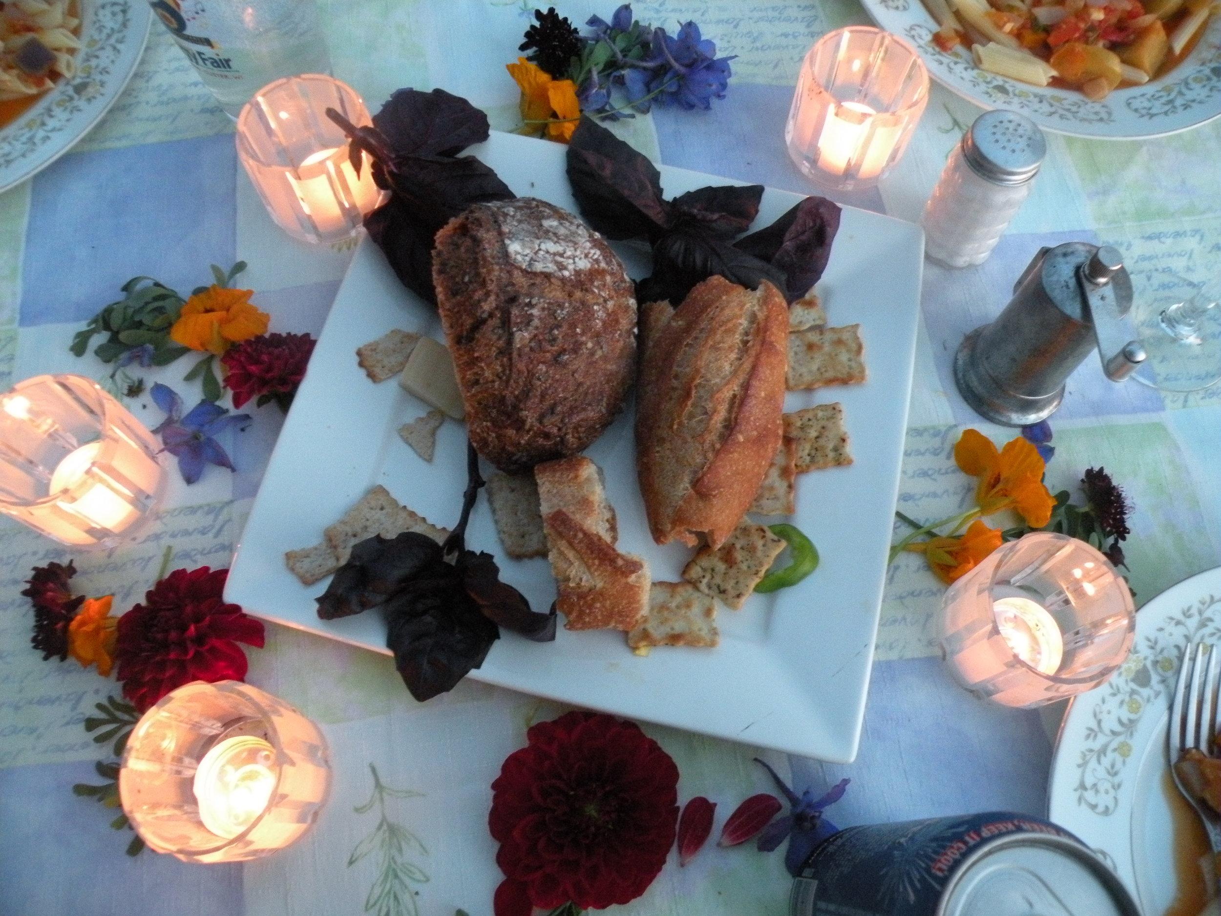 Appetizing on basil and calendula blooms