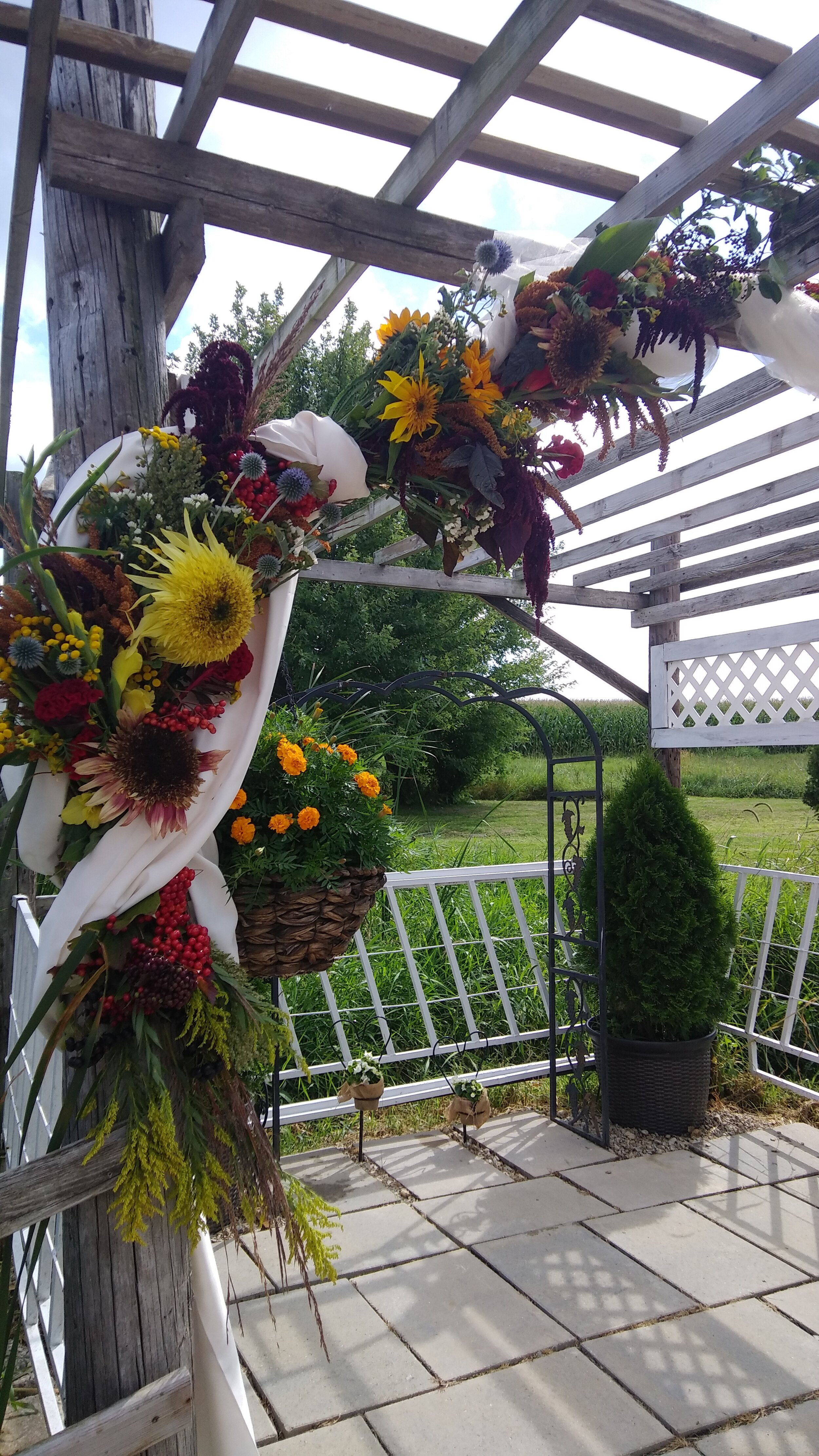sideview of wedding flower arch for tom and leslie 9 - 7 - 19.jpg