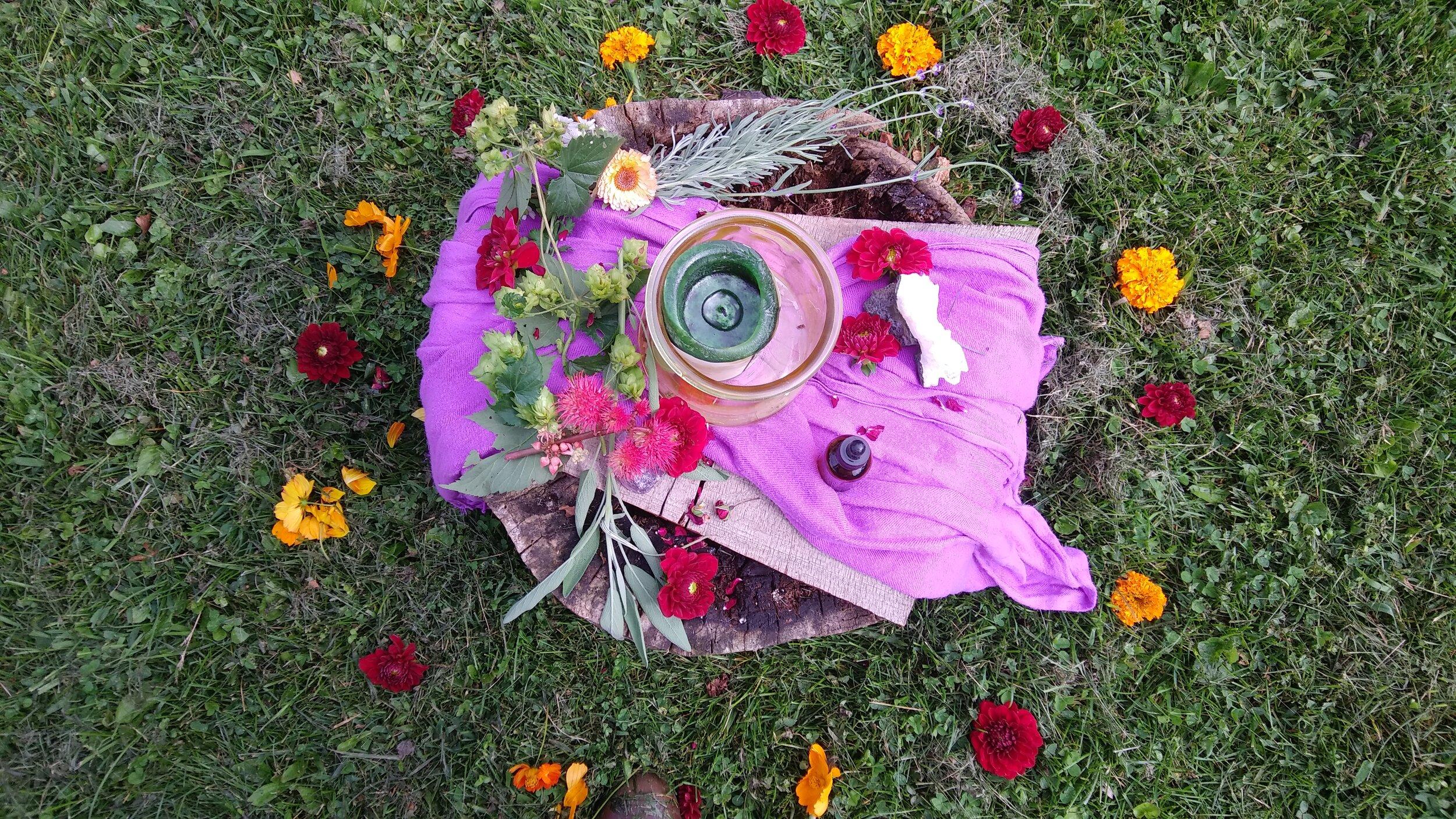 flower 'altar' for group meditation 8 - 25 - 19.jpg