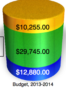Key: blue, funds donated by Dec. 15 toward $55,000 annual goal. Green, funds donated by March 1. Yellow, needed by July 1.