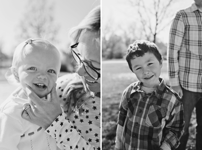 Cheerful baby and cute child at a family fall portrait session in Fort Collins Colorado, by film photographer Sonja Salzburg of Sonja K Photography.