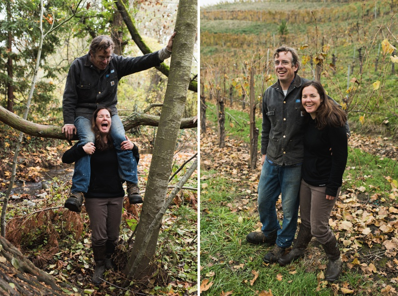 A loving and fun couple in a lush foggy vineyard in fall. Film portraits by Sonja Salzburg of Sonja K Photography.