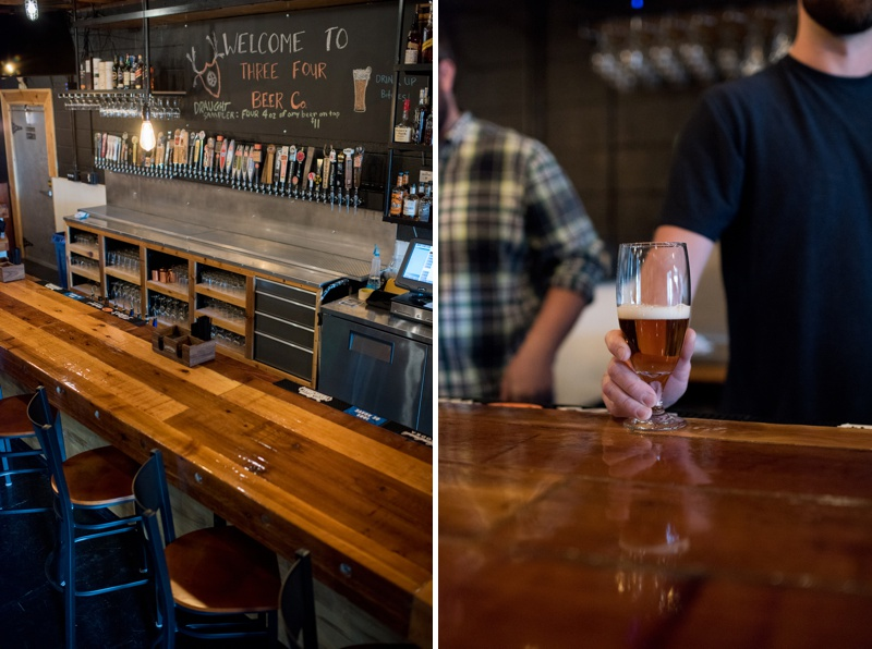 The bar at Three Four Beer Company. Film photography by Sonja Salzburg of Sonja K Photography.