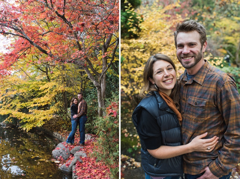 A young couple in Lithia Park in Ashland, Oregon on a warm fall day. Film photography by Sonja Salzburg of Sonja K Photography.