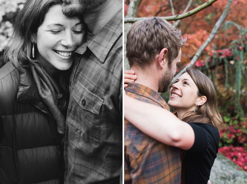 A living couple embraces in the warm fall light of Ashland, Oregon. Film portraits by Sonja Salzburg of Sonja K Photography.