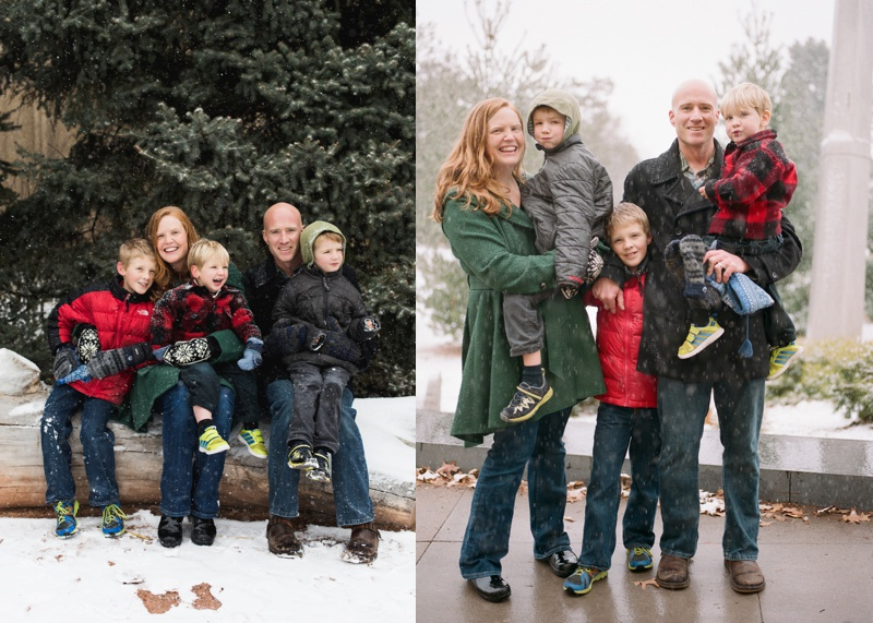 a smiling and happy family on a snowy winter day at City Park in Denver, Colorado. Film photography by Sonja Salzburg of Sonja K Photography.