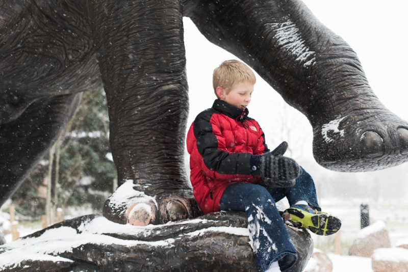 A handsome young man sits at the base of the Snowmastadon sculpture at City Park, near the the Museum of Nature and Science, in Denver Colorado. Film portrait by Sonja Salzburg of Sonja K Photography.