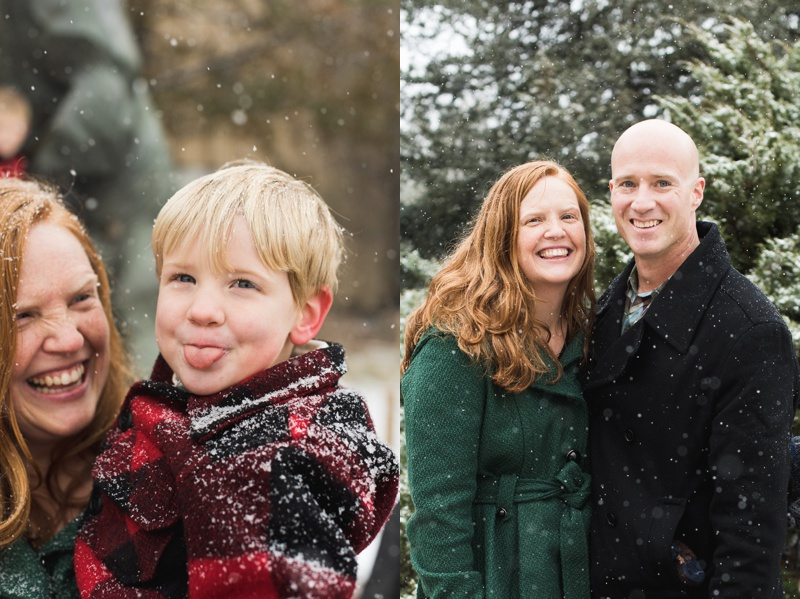 cute mom smiling at son sticking his tongue out and couple in the snow at City Park in Denver Colorado. Film family portraits by Sonja Salzburg of Sonja K Photography.