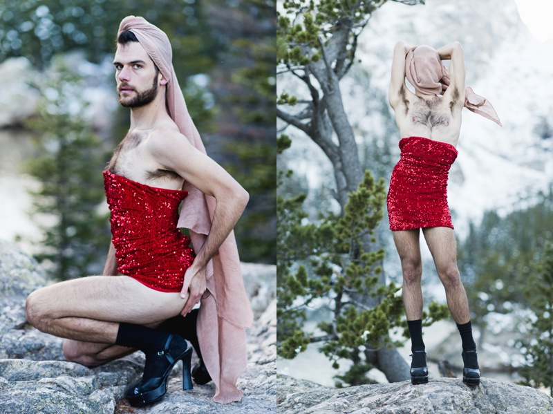 Dancer in red sequin dress, portrait, Sonja K Photography, Rocky Mountain National Park