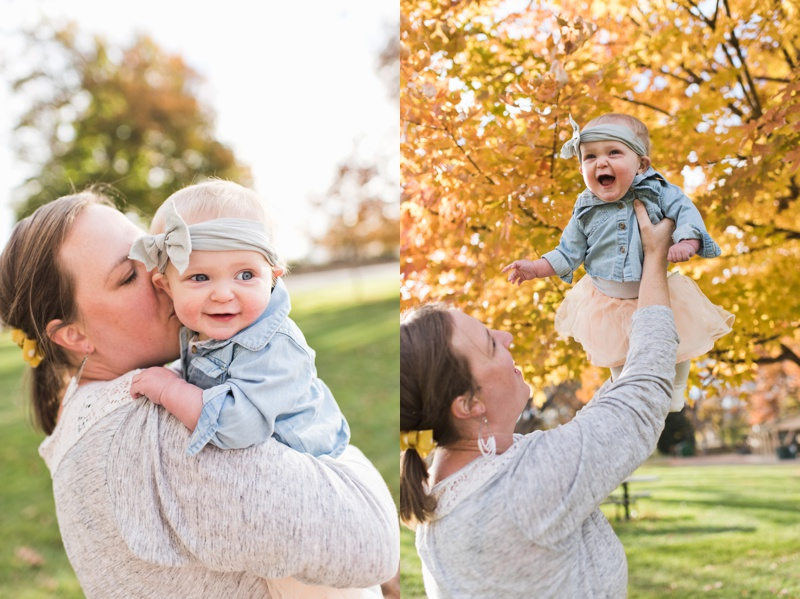 A mother and daughter on a sunny fall day at the park.  Film family portraits by Sonja Salzburg of Sonja K Photography.