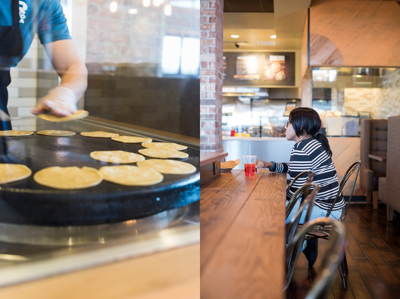 Tortillas are hand made and a customer patiently waits for her order in a redesigned bright Qdoba Mexican Eats location in Omaha, Nebraska.. Corporate photography by Sonja Salzburg of Sonja K Photography.